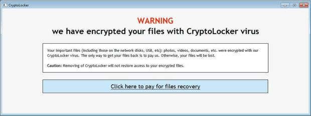 Schermata di avviso di CryptoLocker