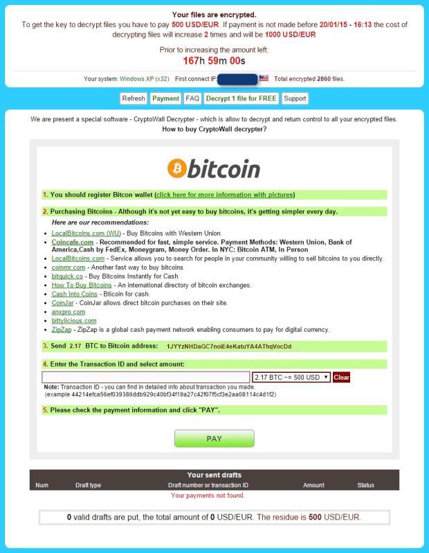 CryptoWall 3.0 – schermata di pagamento