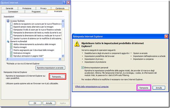 Reimposta Internet Explorer